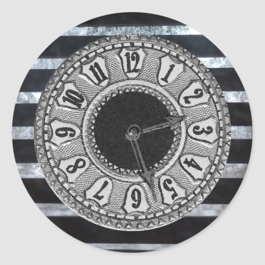 Black and White Clock Round Sticker
