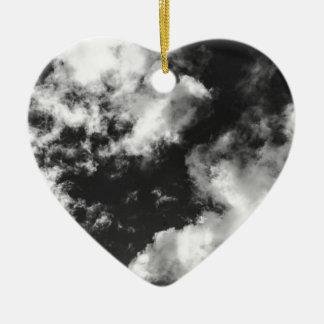 Black and White Cloudy weather Ceramic Heart Ornament