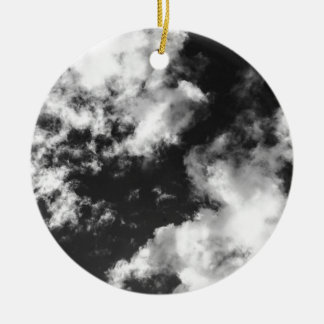 Black and White Cloudy weather Round Ceramic Ornament