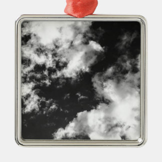 Black and White Cloudy weather Silver-Colored Square Ornament