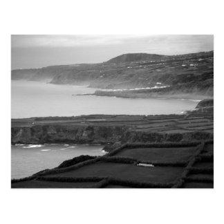 Black and white coastal landscape postcard