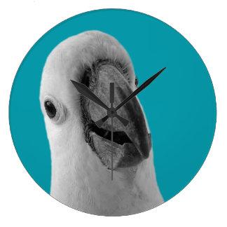 Black and white cockatoo photo clock
