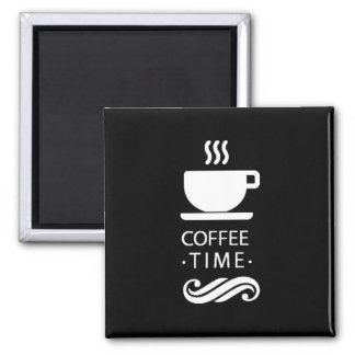 Black And White Coffee Time Magnet