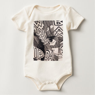 Black and White Collage Comics Pattern Baby Bodysuit