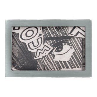 Black and White Collage Comics Pattern Belt Buckle