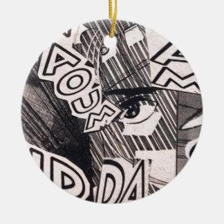 Black and White Collage Comics Pattern Ceramic Ornament