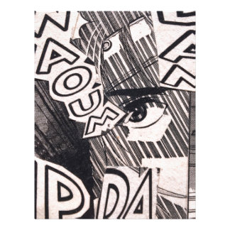 Black and White Collage Comics Pattern Letterhead