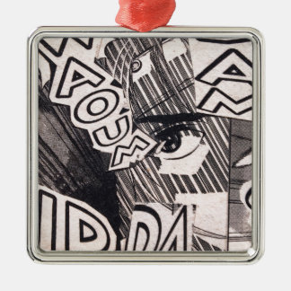 Black and White Collage Comics Pattern Metal Ornament