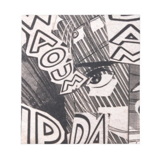 Black and White Collage Comics Pattern Notepad