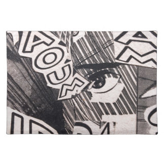 Black and White Collage Comics Pattern Placemat