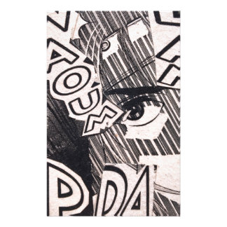 Black and White Collage Comics Pattern Stationery