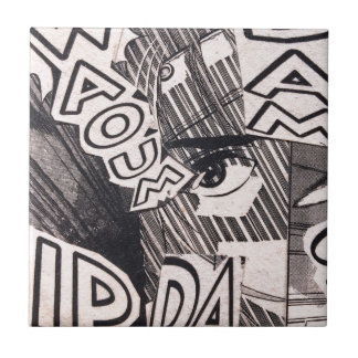 Black and White Collage Comics Pattern Tile