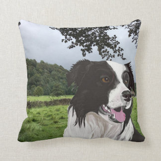 Black and White Collie against a Yorkshire scene Throw Pillow