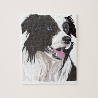 black and white collie blue eyes jigsaw puzzle