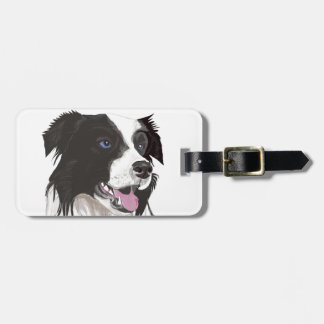 black and white collie blue eyes luggage tag