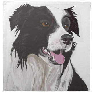 black and white collie brown eyes napkin