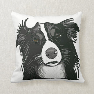 Black and White Collie Portrait Throw Pillow