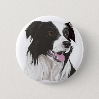 Black and White Collie with Brown eyes 2 Inch Round Button