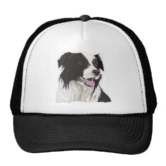 Black and White Collie with Brown eyes Trucker Hat