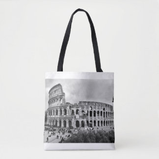 Black and White Colosseum Rome Tote Bag