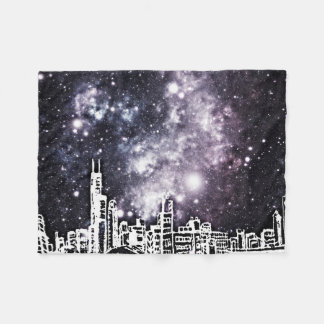 Black and White Comic Style City Skyline Milky Way Fleece Blanket