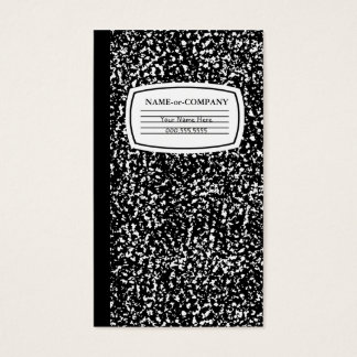 black and white composition book business card