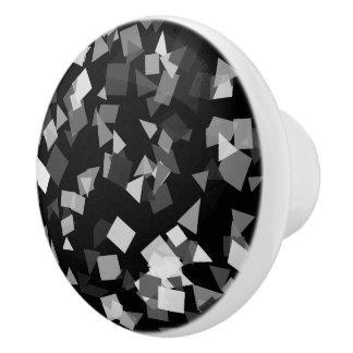 Black and White Confetti Ceramic Knob