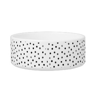 Black And White Confetti Dots Cat Water Bowls