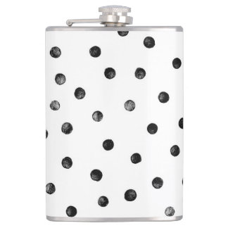Black And White Confetti Dots Hip Flask