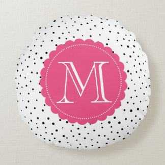 Black and White Confetti Dots Hot Pink Monogram Round Pillow