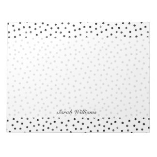 Black And White Confetti Dots Notepad