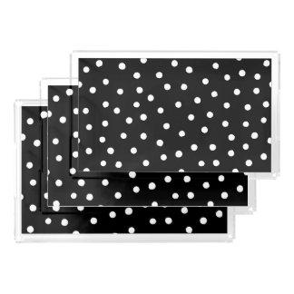 Black And White Confetti Dots Pattern Acrylic Tray