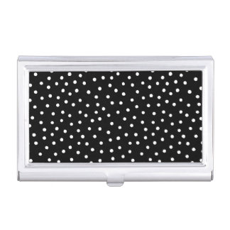 Black And White Confetti Dots Pattern Business Card Holder