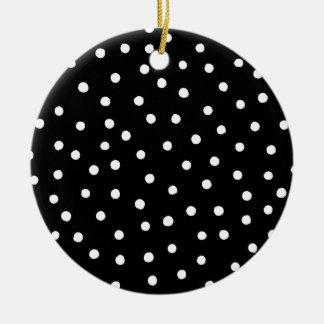 Black And White Confetti Dots Pattern Ceramic Ornament