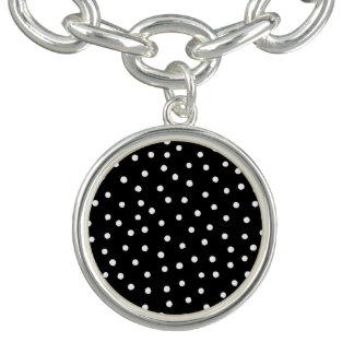 Black And White Confetti Dots Pattern Charm Bracelets