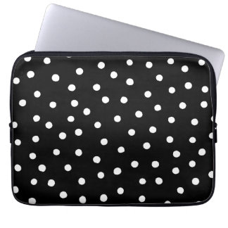 Black And White Confetti Dots Pattern Computer Sleeve