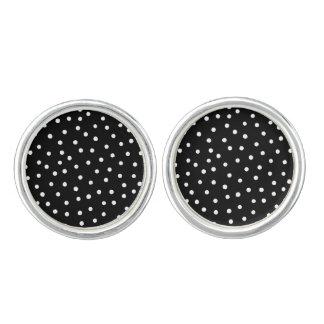 Black And White Confetti Dots Pattern Cufflinks