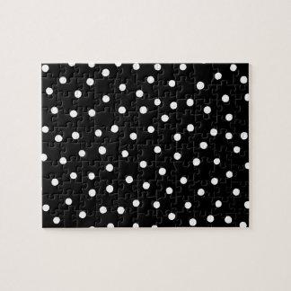 Black And White Confetti Dots Pattern Jigsaw Puzzle
