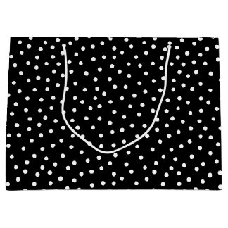Black And White Confetti Dots Pattern Large Gift Bag