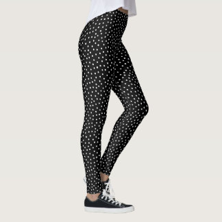 Black And White Confetti Dots Pattern Leggings