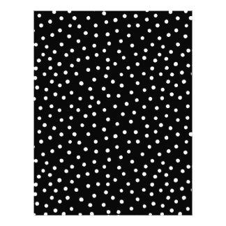 Black And White Confetti Dots Pattern Letterhead
