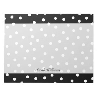Black And White Confetti Dots Pattern Notepad