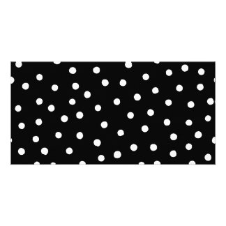 Black And White Confetti Dots Pattern Photo Cards