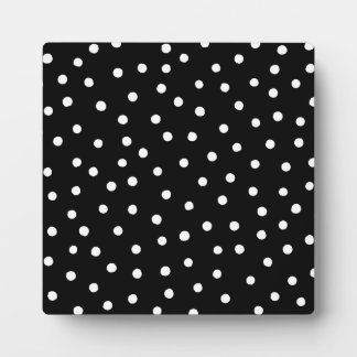 Black And White Confetti Dots Pattern Plaque