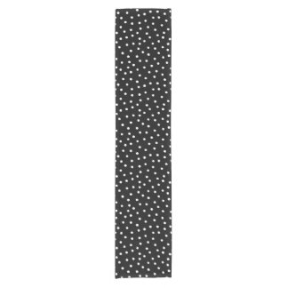 Black And White Confetti Dots Pattern Short Table Runner