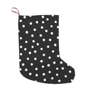 Black And White Confetti Dots Pattern Small Christmas Stocking