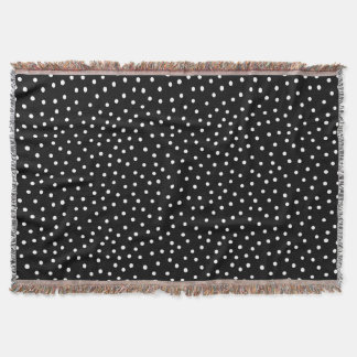 Black And White Confetti Dots Pattern Throw Blanket