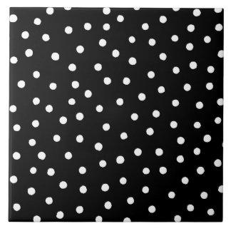 Black And White Confetti Dots Pattern Tile