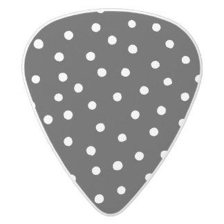 Black And White Confetti Dots Pattern White Delrin Guitar Pick
