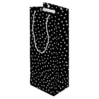 Black And White Confetti Dots Pattern Wine Gift Bag